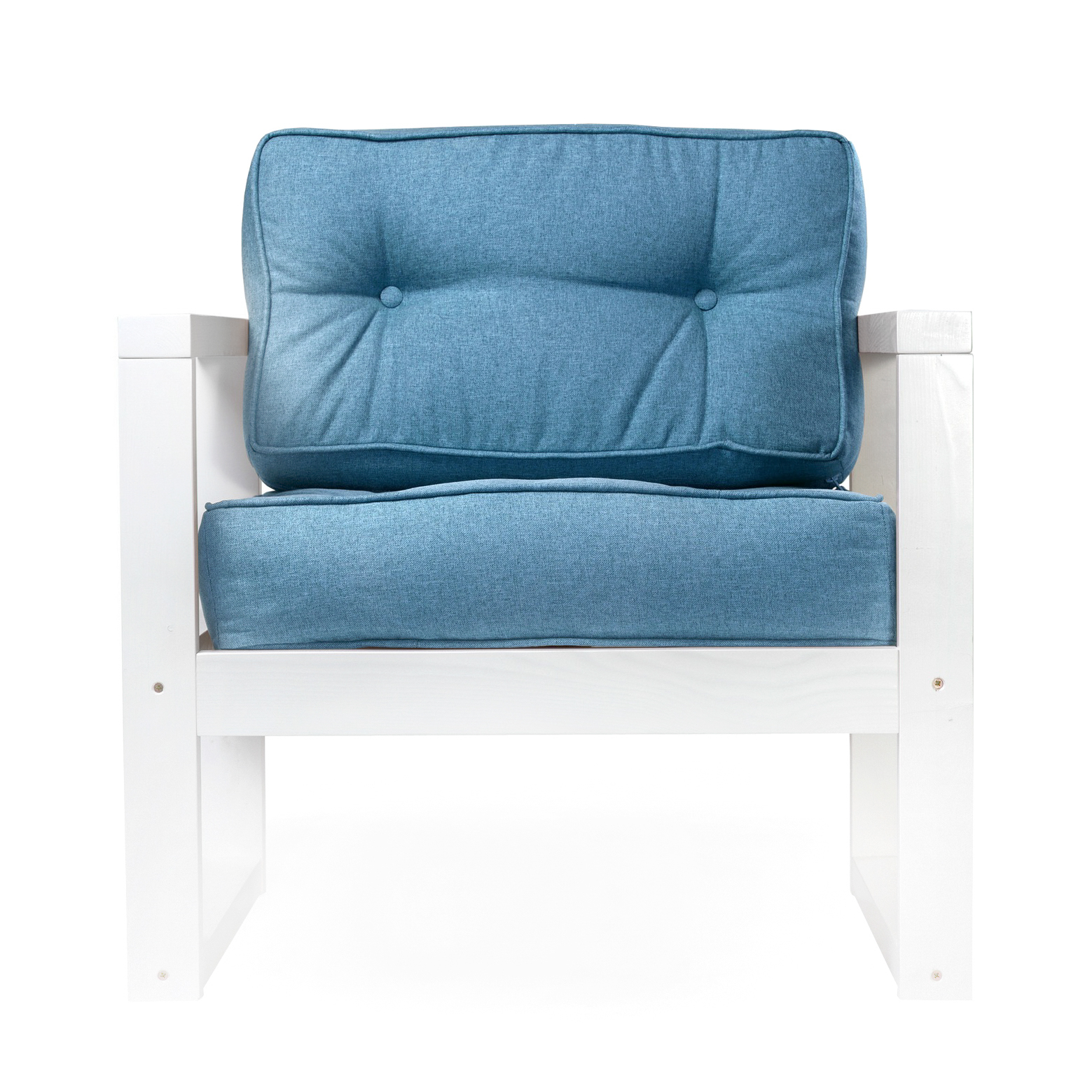 Кресло AS Алекс 80x73x65 белый/голубой фото