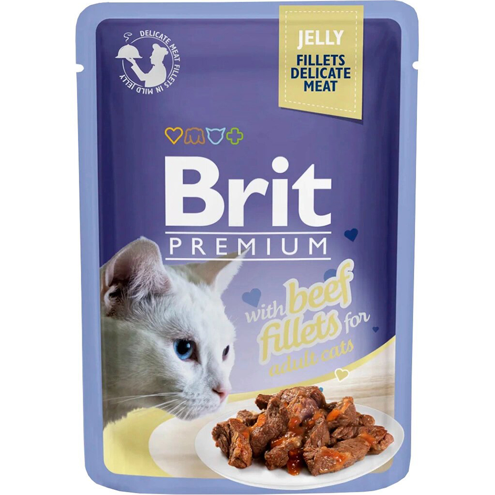 Фото - Корм для кошек Brit Premium Cat Jelly Кусочки из филе говядины в желе 85 г brit набор паучей brit premium family plate jelly для взрослых кошек в желе 85 г х 12 шт курица говядина форель и лосось
