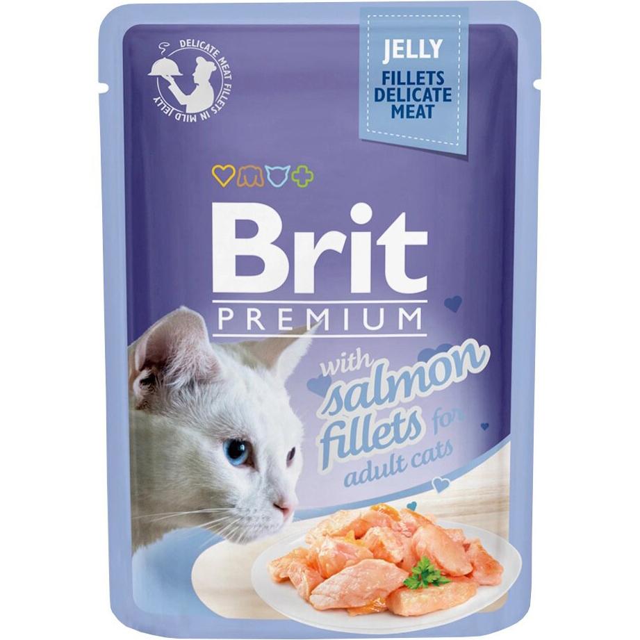 Фото - Корм для кошек Brit Premium Cat Jelly Кусочки из филе лосося в желе 85 г brit набор паучей brit premium family plate jelly для взрослых кошек в желе 85 г х 12 шт курица говядина форель и лосось