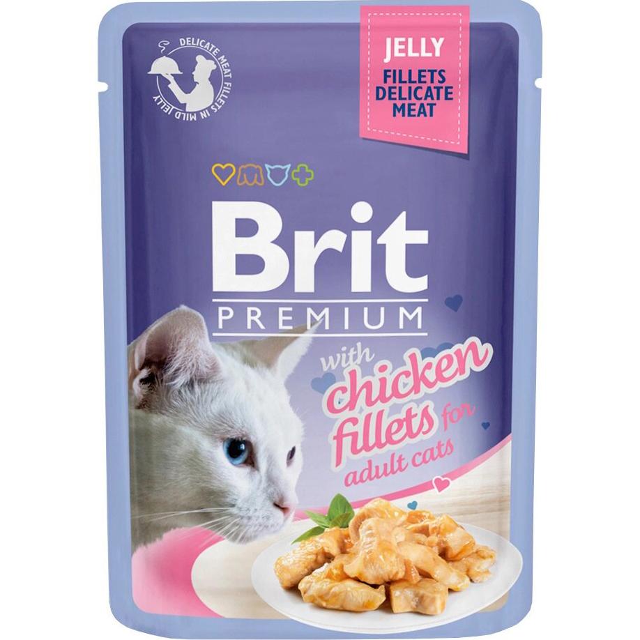 Фото - Корм для кошек Brit Premium Cat Jelly Кусочки из куриного филе в желе 85 г brit набор паучей brit premium family plate jelly для взрослых кошек в желе 85 г х 12 шт курица говядина форель и лосось