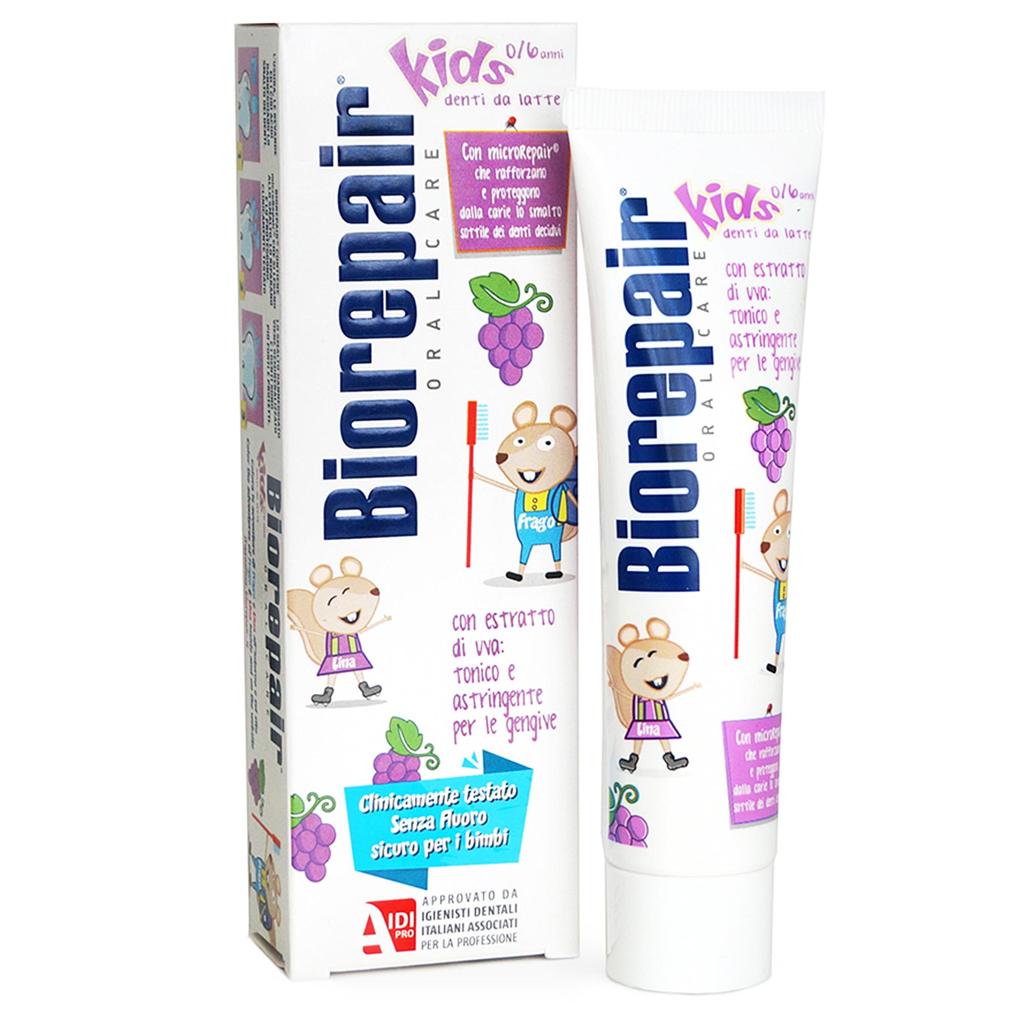 Зубная паста Biorepair Kids детская с экстрактом винограда 50 мл chicco зубная паста chicco детская клубника 50 мл