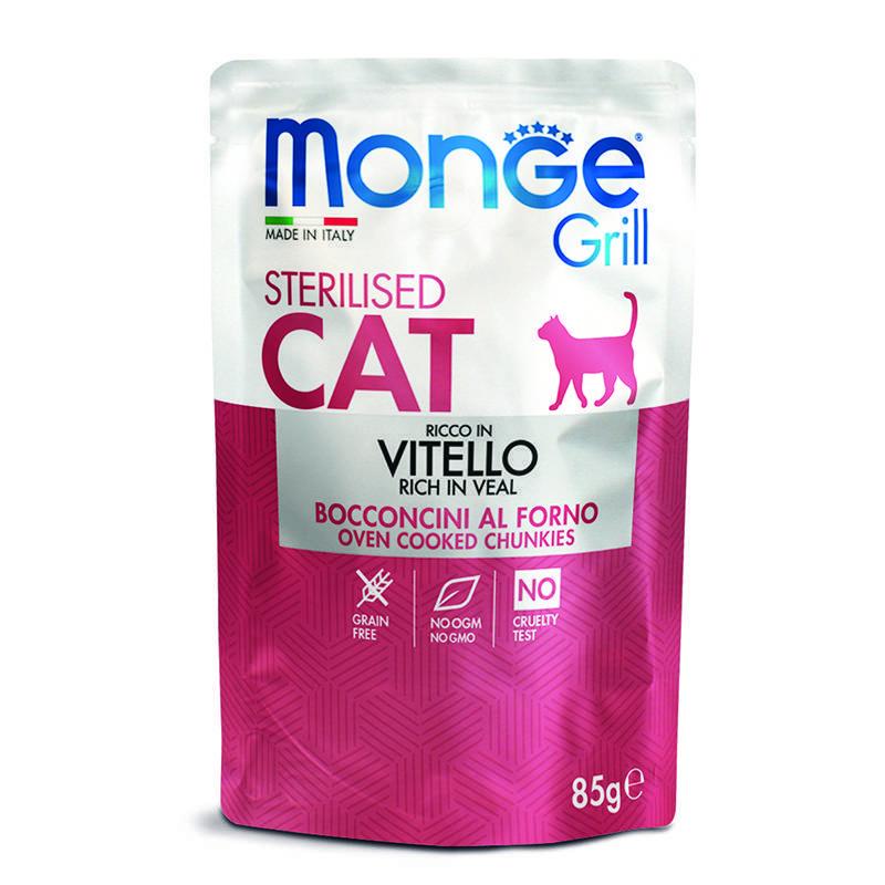 Корм для стерилизованных кошек Monge Cat Grill Pouch итальянская телятина 85 г