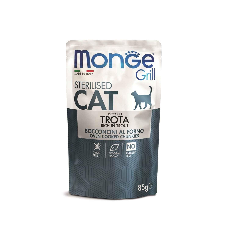 Корм для стерилизованных кошек Monge Cat Grill Pouch итальянская форель 85 г