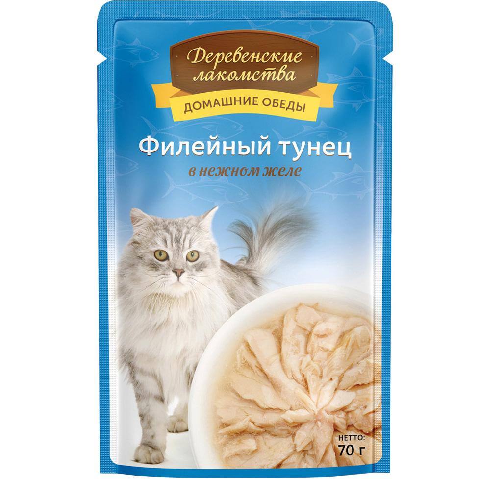 Корм для кошек Деревенские лакомства Филейный тунец в нежном желе 70 г фото