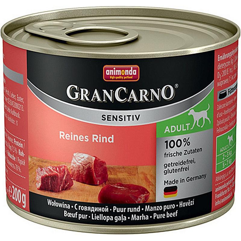 Корм для собак Animonda GranCarno Sensitiv c говядиной 200 г корм для собак animonda grancarno sensitiv с чувствит пищеварением ягненок картофель 400г