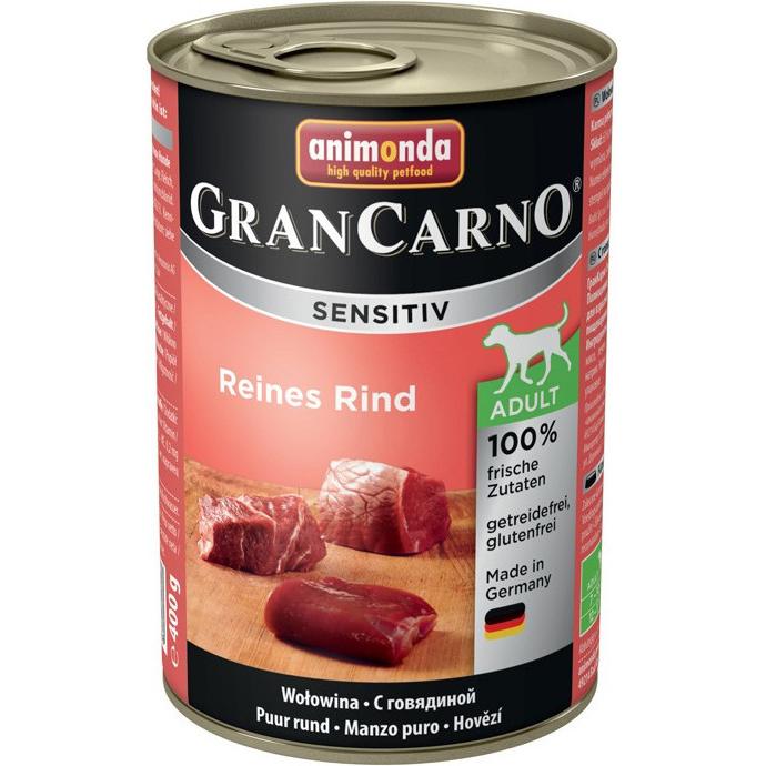 Корм для собак Animonda GranCarno Sensitiv c говядиной 400 г корм для собак animonda grancarno sensitiv с чувствит пищеварением ягненок картофель 400г