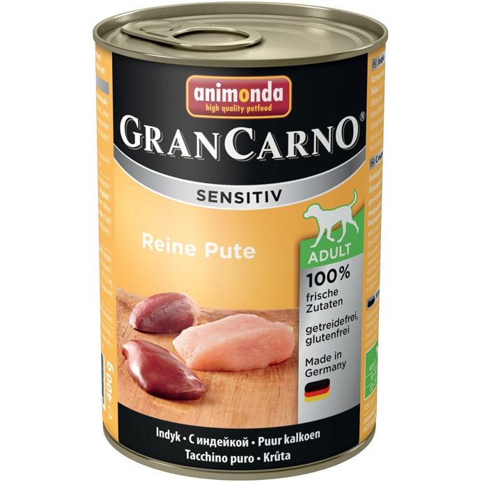 Корм для собак Animonda GranCarno Sensitiv c индейкой 400 г корм для собак animonda grancarno sensitiv с чувствит пищеварением ягненок картофель 400г