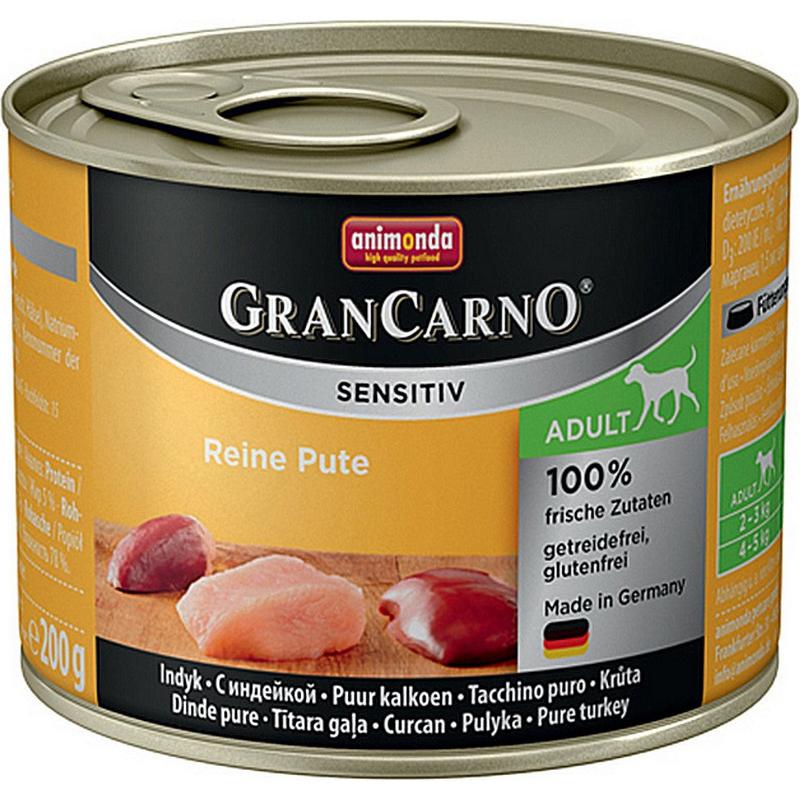 Корм для собак Animonda GranCarno Sensitiv c индейкой 200 г корм для собак animonda grancarno sensitiv с чувствит пищеварением ягненок картофель 400г