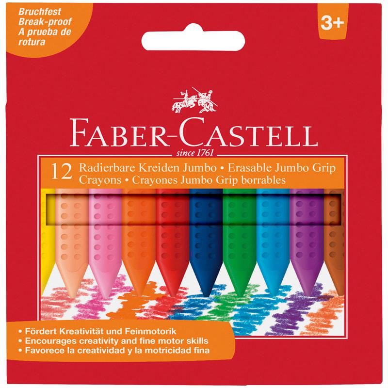 Мелки пластиковые утолщенные Faber-castell Grip Jumbo 12 цветов