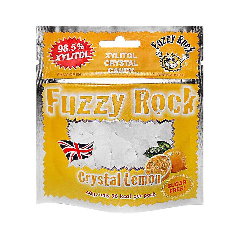 Кристаллы ксилитола Fuzzy Rock, без сахара, со вкусом лимона, 40 г