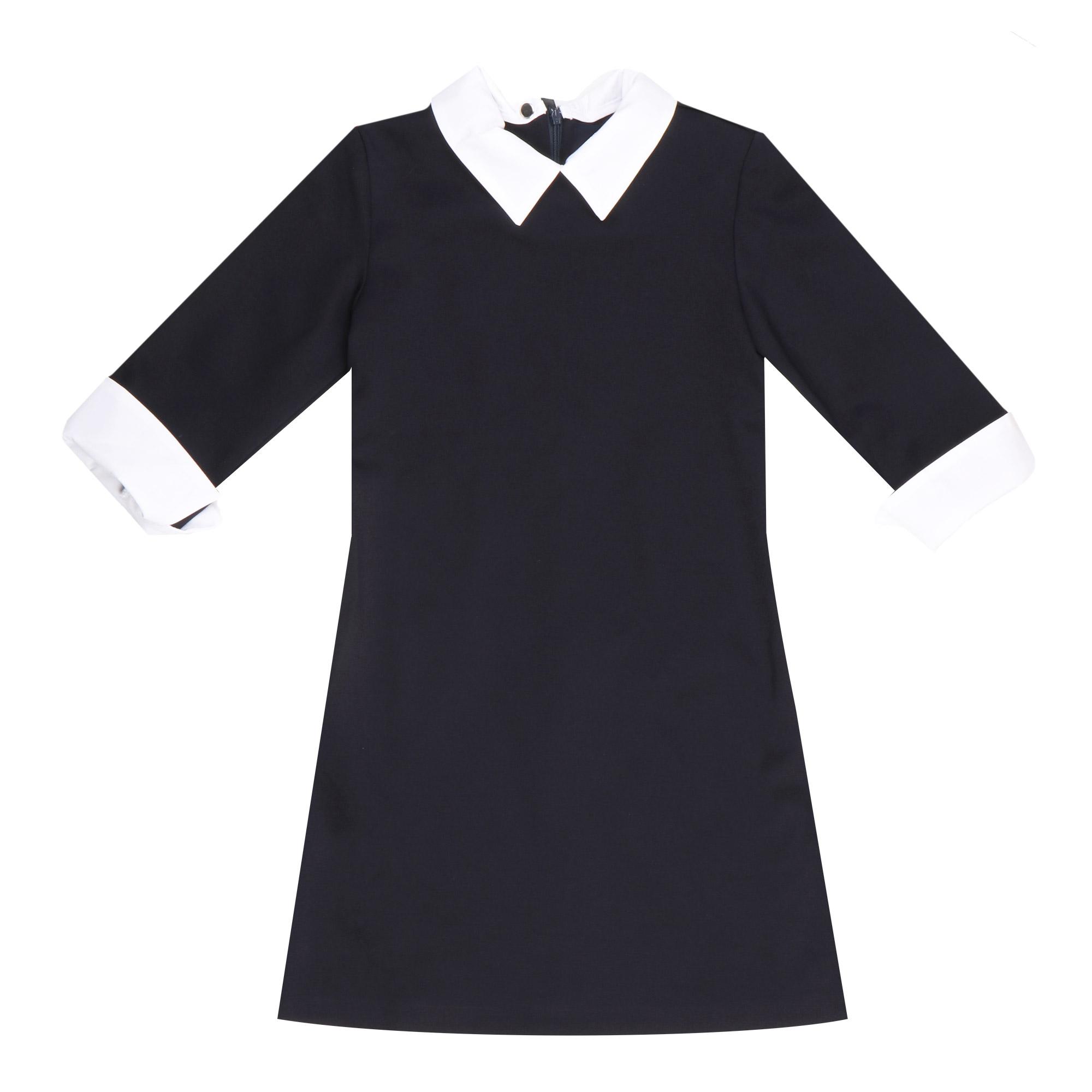 Купить Платье трикотажное Смена синее 128/64, Smena/Смена, Синий, Основной материал: Вискоза-67%, Полиэстер-28%, Полиуретан-5% Дополнительный материал: Хлопок-55%, Полиэстер-45%, Для девочек, Всесезонный,