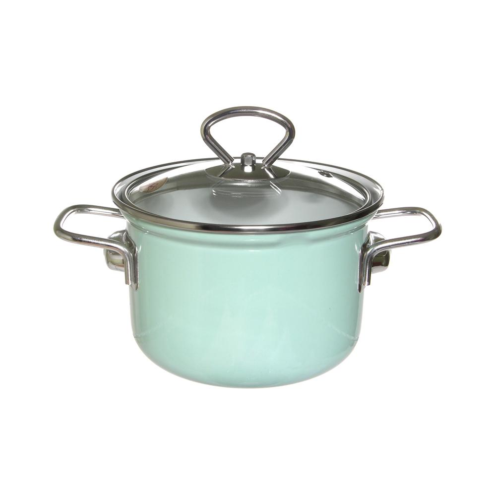 Кастрюля эмалированная Лысьвенские эмали Мята 1,5 л набор эмалированной посуды лзэп китайская роза 124 4ап2 кастрюля 1 5 2 3 л 3 предмета