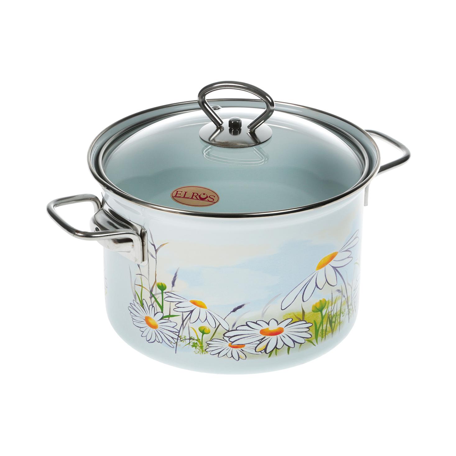 Кастрюля эмалированная Лысьвенские эмали Ромашка 3 л набор эмалированной посуды лзэп китайская роза 124 4ап2 кастрюля 1 5 2 3 л 3 предмета