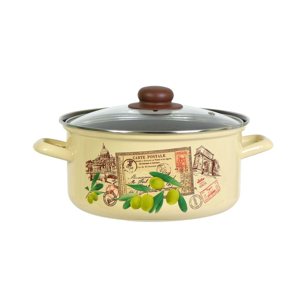 Кастрюля эмалированная Лысьвенские эмали Римские каникулы 2 л набор эмалированной посуды лзэп китайская роза 124 4ап2 кастрюля 1 5 2 3 л 3 предмета