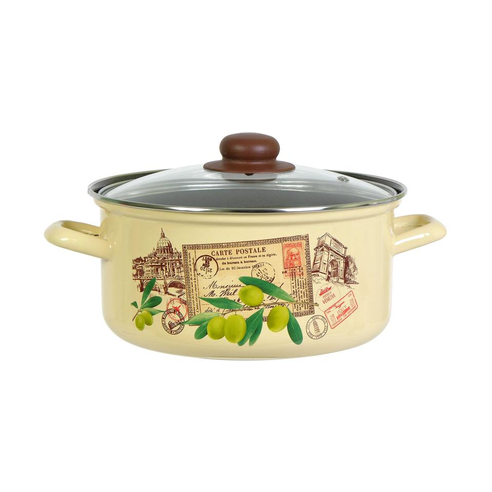 Кастрюля эмалированная Лысьвенские эмали Римские каникулы 3 л набор эмалированной посуды лзэп китайская роза 124 4ап2 кастрюля 1 5 2 3 л 3 предмета