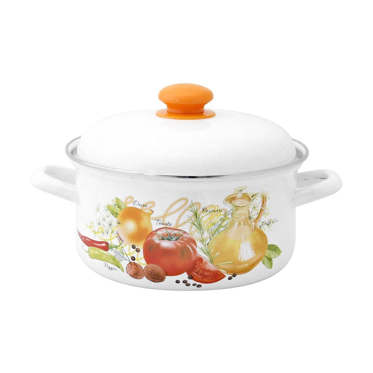 Кастрюля эмалированная Лысьвенские эмали Итальянская кухня 2 л набор эмалированной посуды лзэп китайская роза 124 4ап2 кастрюля 1 5 2 3 л 3 предмета
