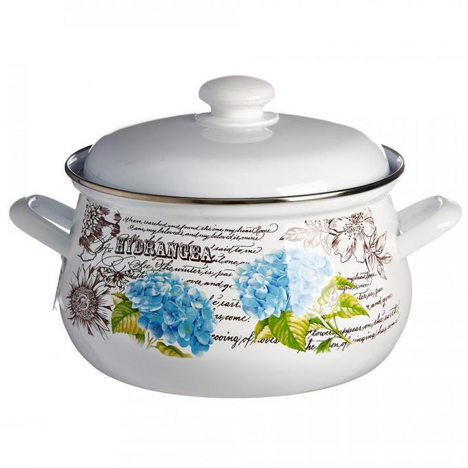Кастрюля эмалированная Лысьвенские эмали Гортензия 3 л набор эмалированной посуды лзэп китайская роза 124 4ап2 кастрюля 1 5 2 3 л 3 предмета