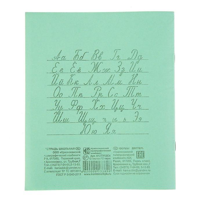 Тетрадь КПК Зелёная обложка 12 л косая линия блок №2