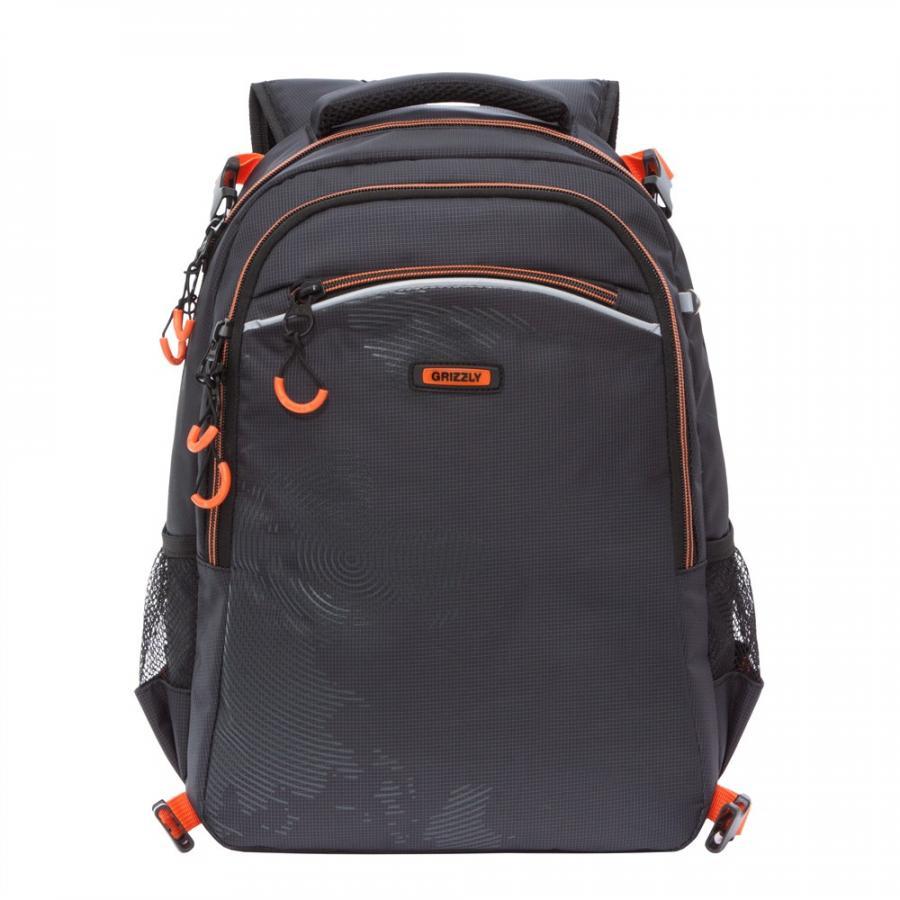 Рюкзак школьный Grizzly черно-оранжевый рюкзак grizzly grizzly mp002xm23sic