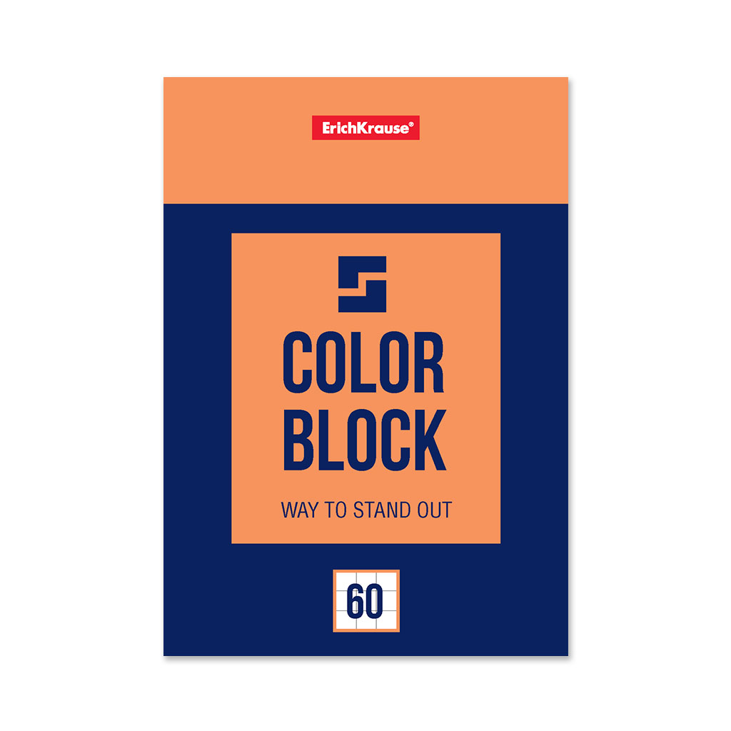 Блокнот на клею ErichKrause Color Block, А6, 60 листов, клетка блокнот erichkrause rough native а6 60 листов клетка