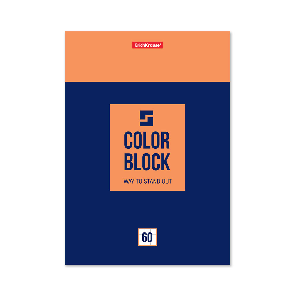 Блокнот на клею ErichKrause Color Block, А5, 60 листов, клетка блокнот erichkrause rough native а6 60 листов клетка
