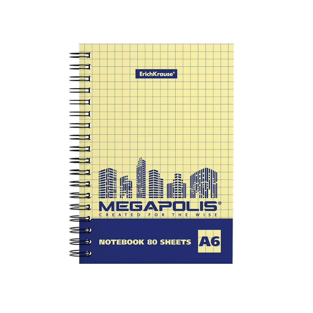 Тетрадь общая ErichKrause MEGAPOLIS Yellow Concept, А6, 80 листов, клетка блокнот erichkrause rough native а6 60 листов клетка