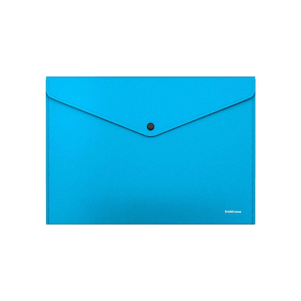 Папка-конверт на кнопке пластиковая Erich Krause Matt Vivid, непрозрачная, A4, бирюзовый канцелярия erich krause папка на резинках пластиковая pink dynamique a4