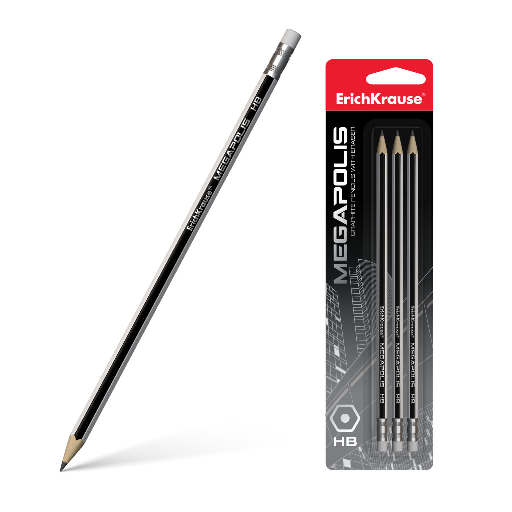 Чернографитный шестигранный карандаш с ластиком Erich Krause MEGAPOLIS HB