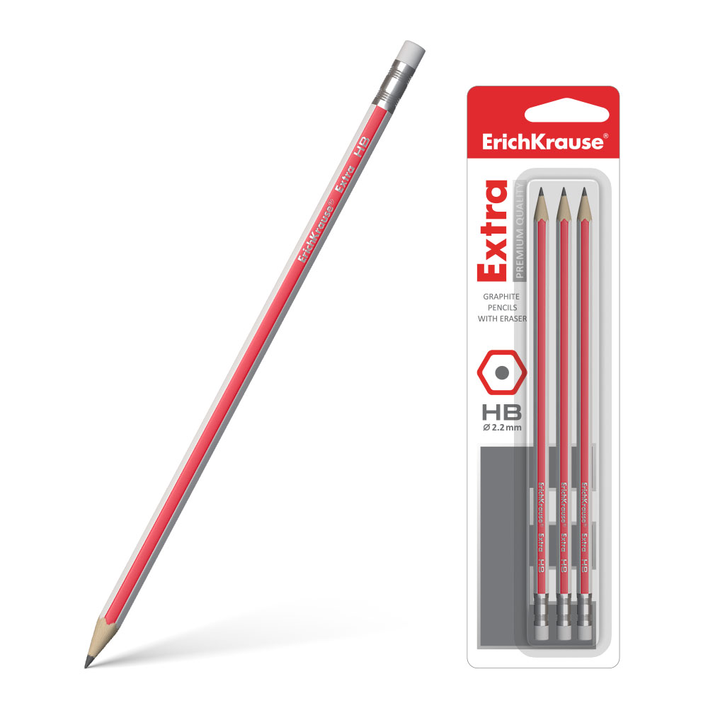 Чернографитный шестигранный карандаш с ластиком Erich Krause Extra HB