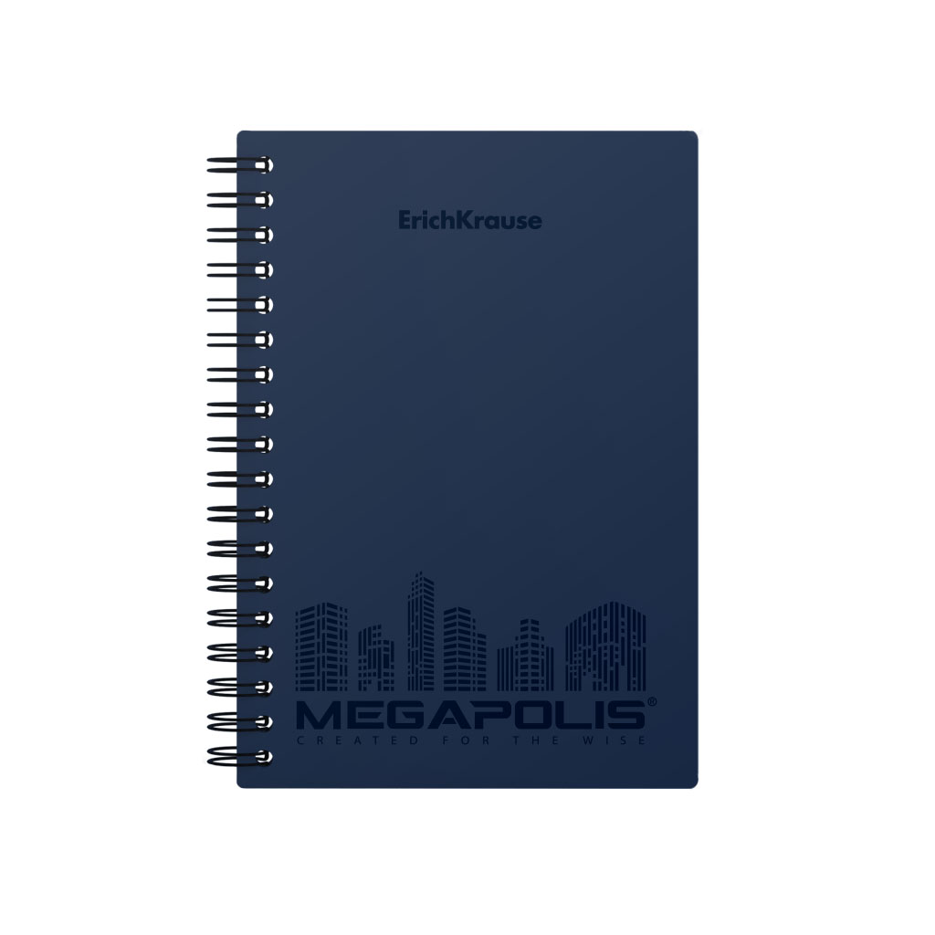 Тетрадь общая на спирали Erich Krause MEGAPOLIS синий А6 80 листов клетка фото
