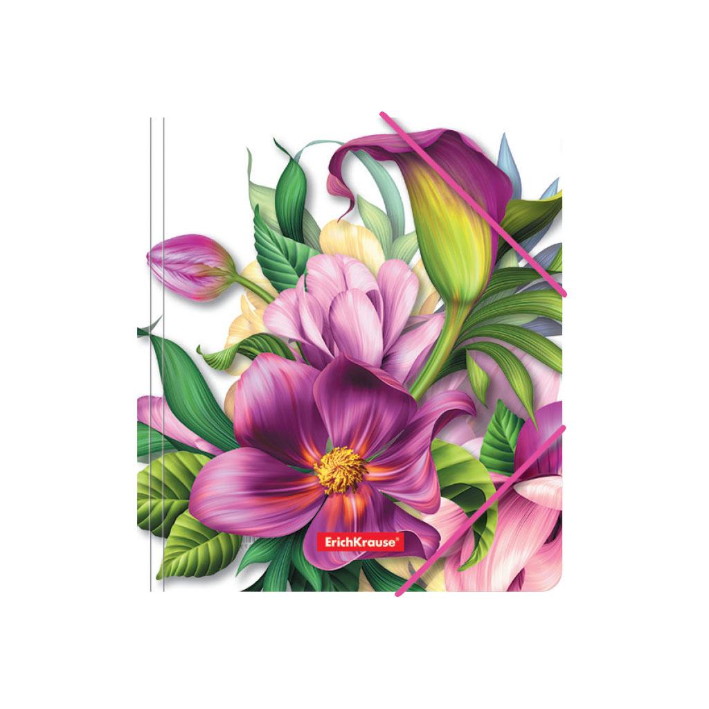 Папка для тетрадей на резинках пластиковая Erich Krause Tropical Flowers, A5+ канцелярия erich krause папка на резинках пластиковая pink dynamique a4