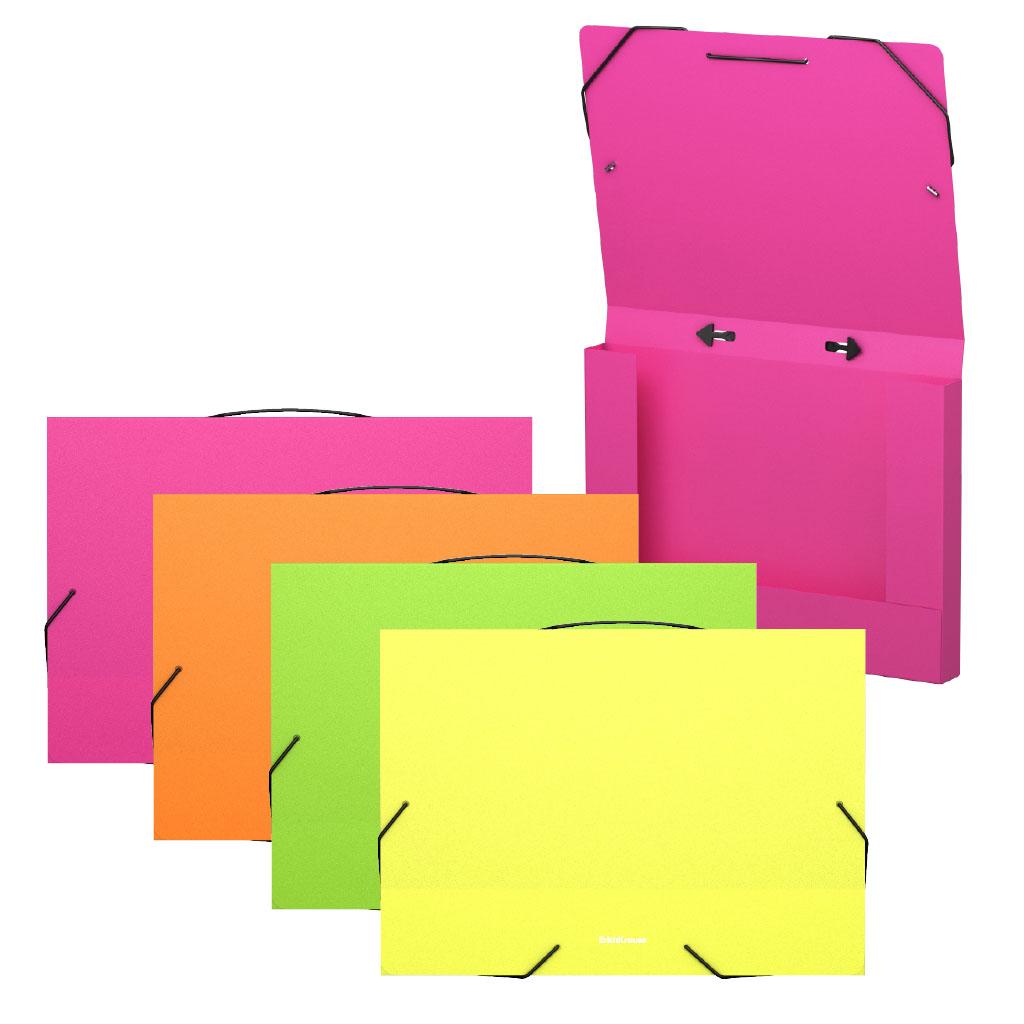 Папка на резинках пластиковая Erich Krause Matt Neon, с ручкой, 30 мм, A4, ассорти канцелярия erich krause папка на резинках пластиковая pink dynamique a4