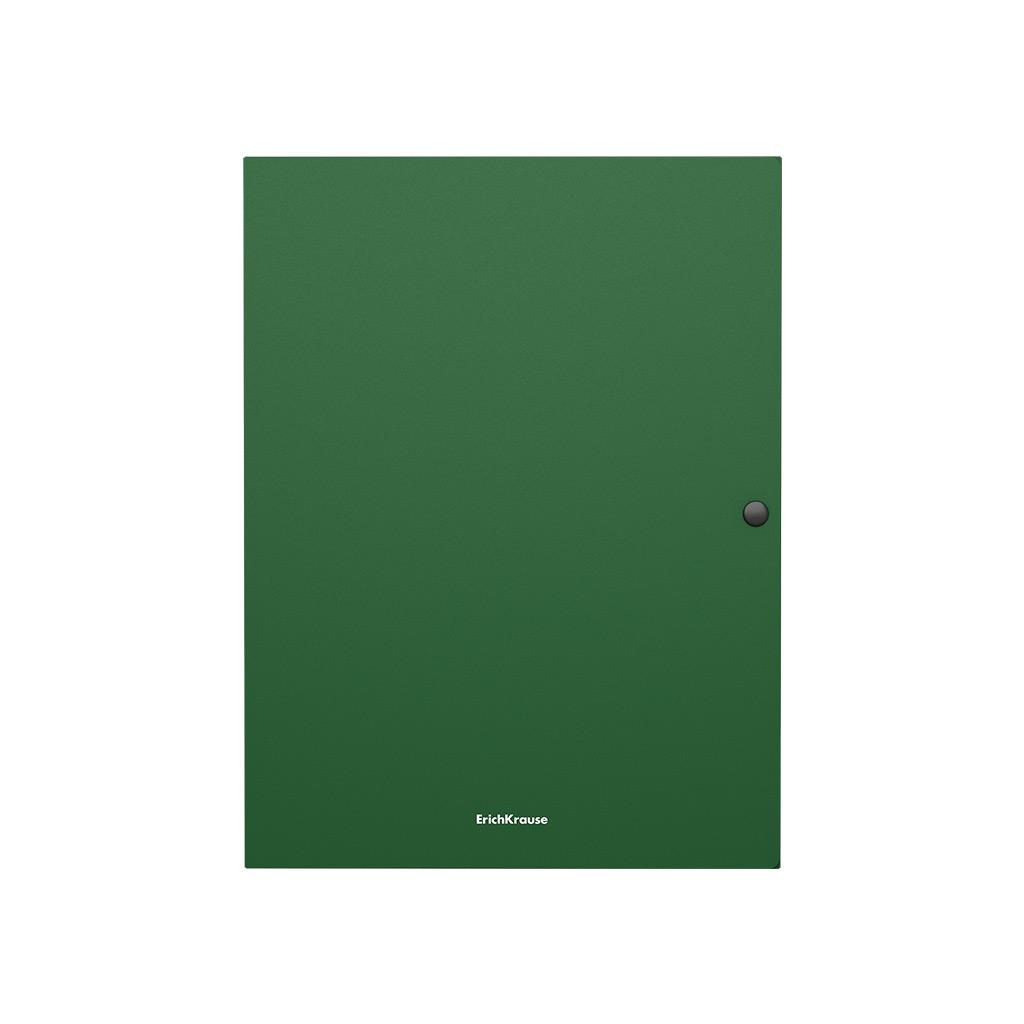 Папка на кнопке пластиковая Erich Krause Matt Classic, с 3 клапанами, 8 мм, A4, зеленый