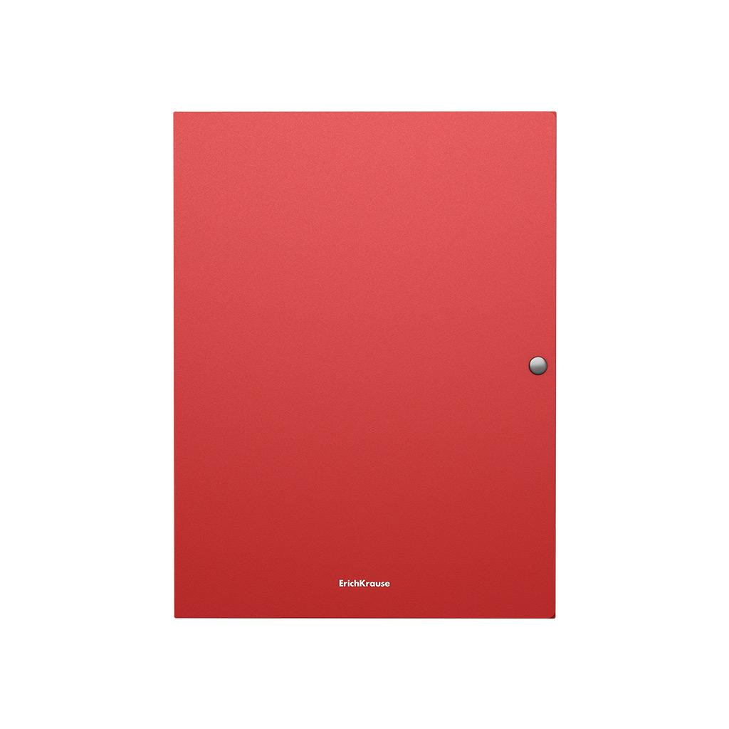 Папка на кнопке пластиковая Erich Krause Matt Classic, с 3 клапанами, 8 мм, A4, красный недорого