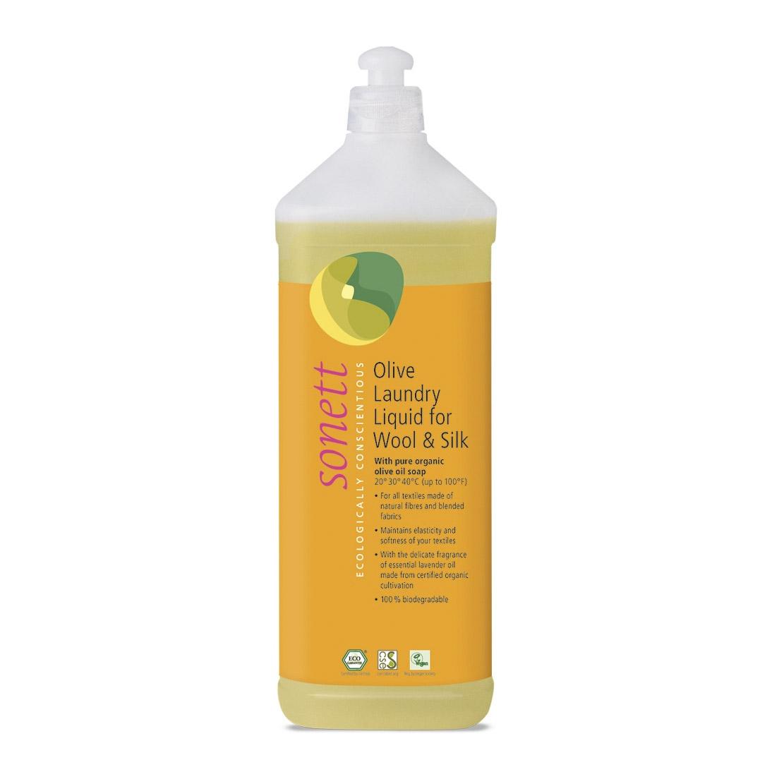 Oрганическое жидкое средство Sonett для стирки изделий из шерсти и шелка на основе оливкового масла 1 л недорого