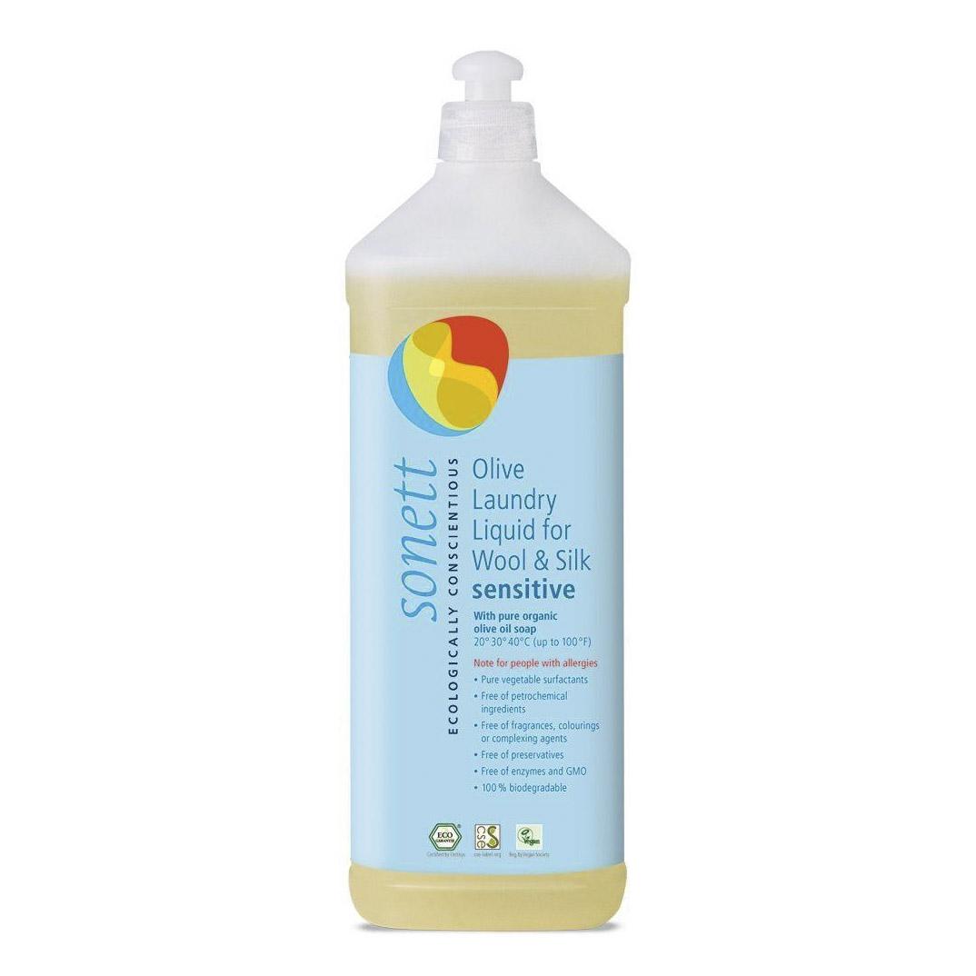 Oрганическое жидкое средство Sonett Sensitive для стирки изделий из шерсти и шелка на основе оливкового масла 1 л недорого