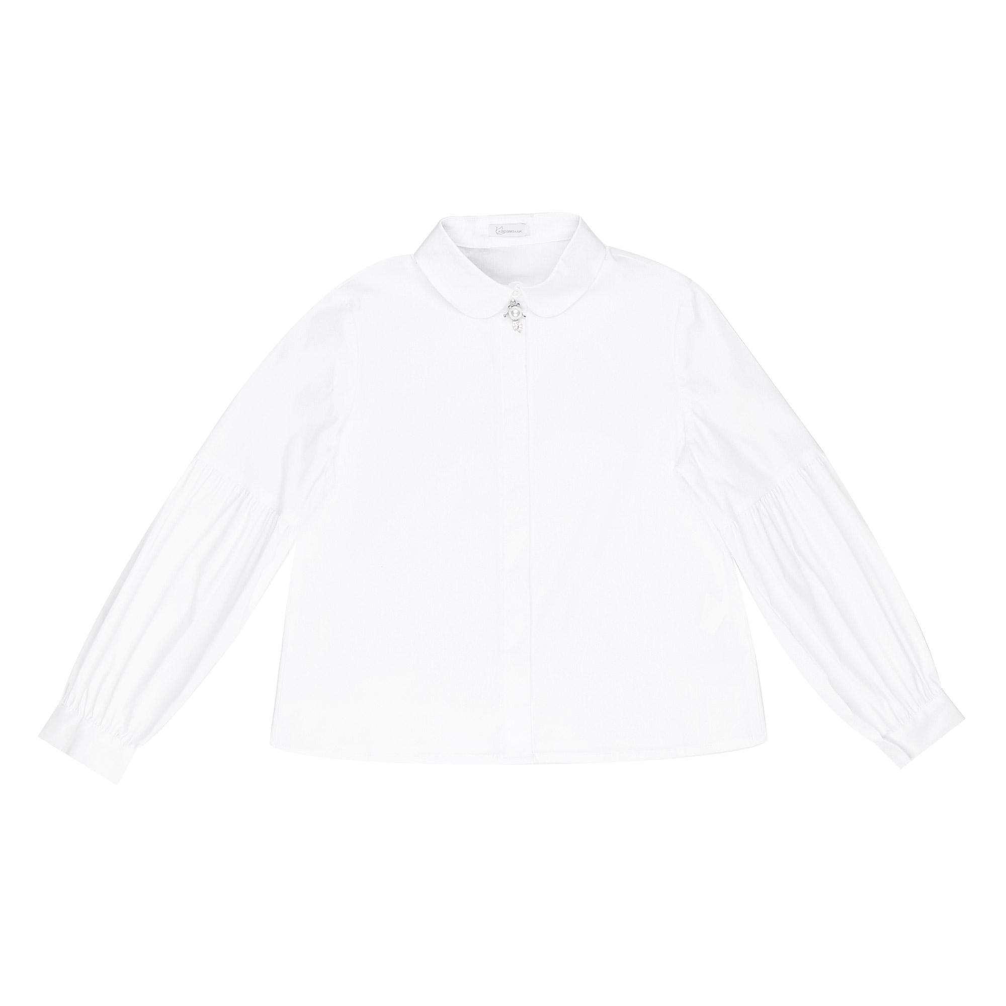 Блузка школьная КАРАМЕЛЛИ О74161 белая 140 фото