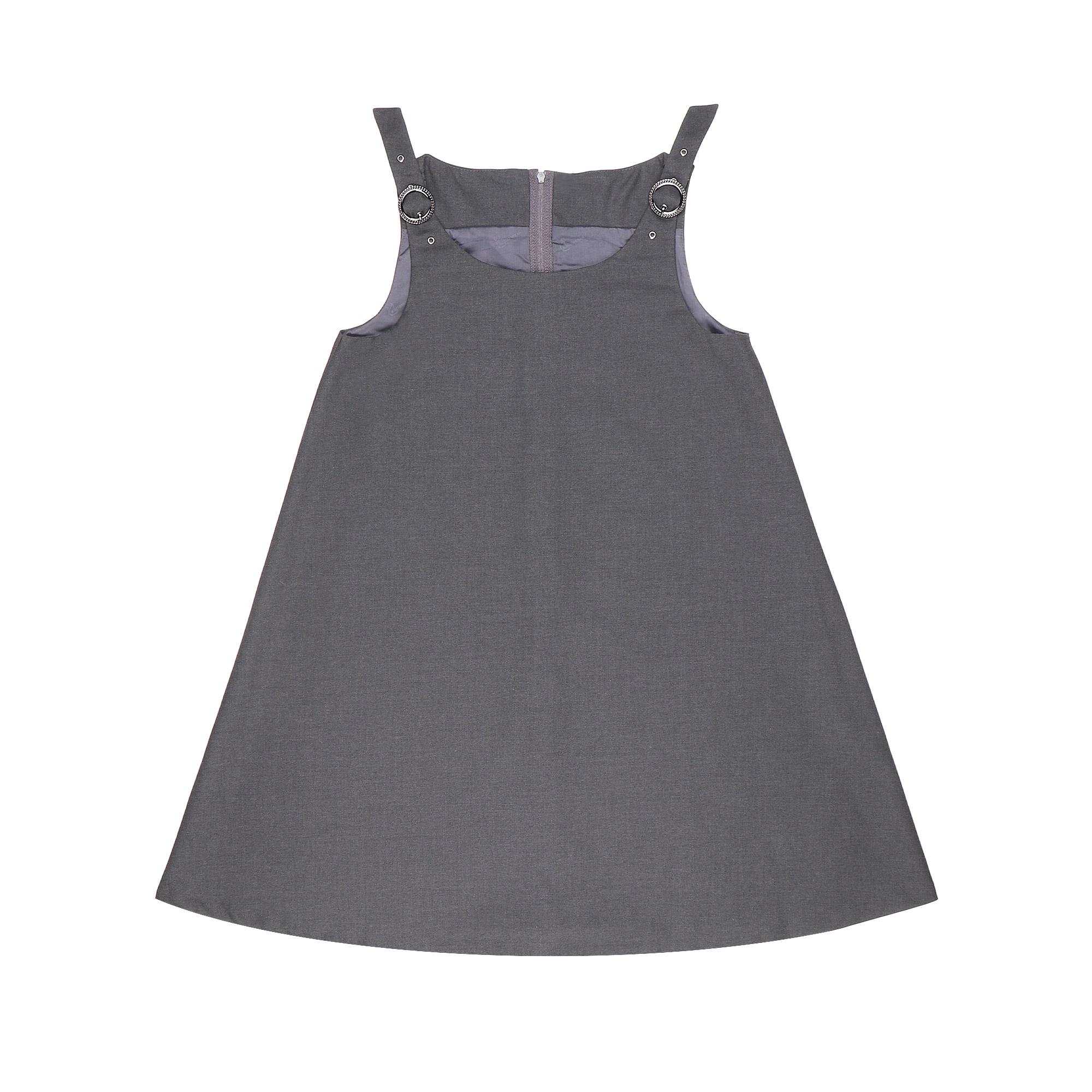 Купить Сарафан школьный КАРАМЕЛЛИ О74177 серый 128, Серый, Для девочек, Всесезонный,