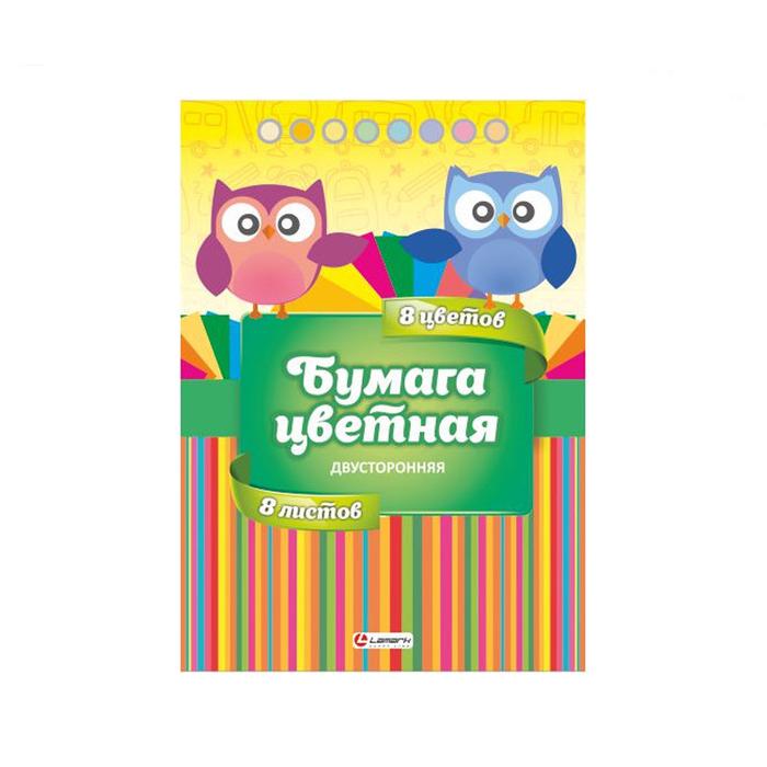 Набор цветной бумаги Lamark MIX-1 двусторонняя 8 цветов А4 в папке набор цветного картона и бумаги а4 мелованные 8 8 цветов в папке юнландия 200х290 мм планеты 129570