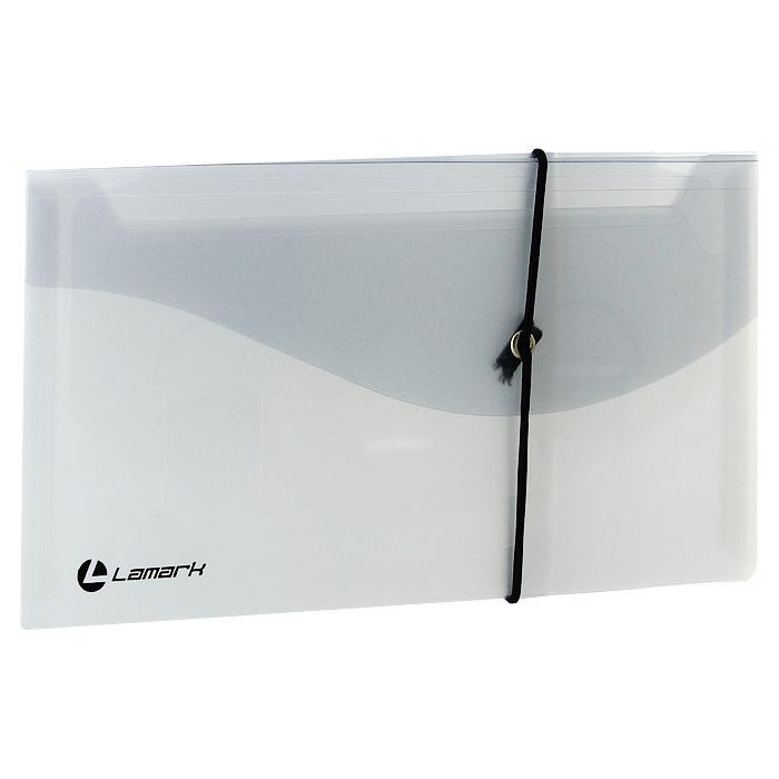 Папка на резинке каскадная Lamark 4 отделения, 0,40 мм, DL, прозрачная/серая фото