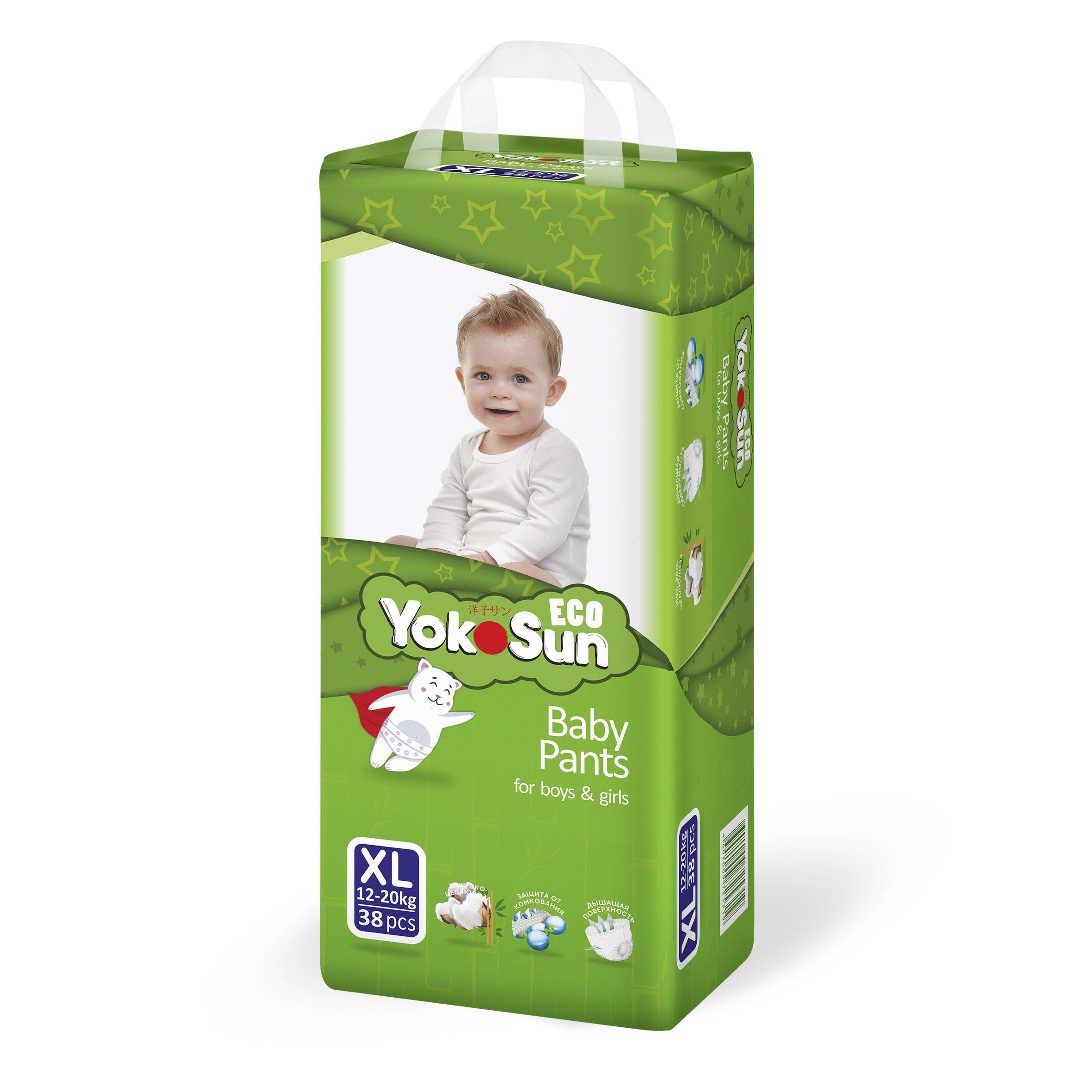 Фото - Подгузники-трусики YokoSun Eco XL (12-20 кг) 38 шт yokosun трусики xl 12 20 кг 76 шт игрушка для ванной котик йоко
