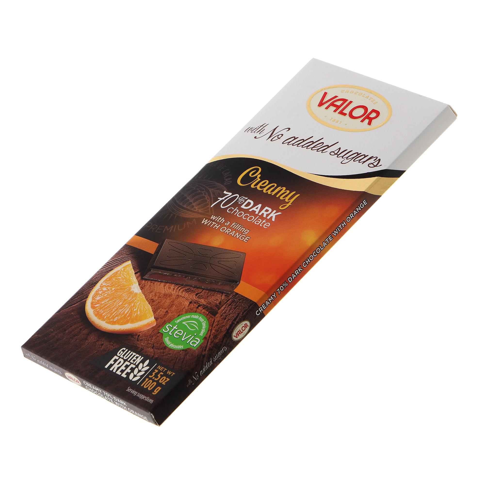 Шоколад темный Valor 70% с апельсиновым кремом 70% 100 г недорого
