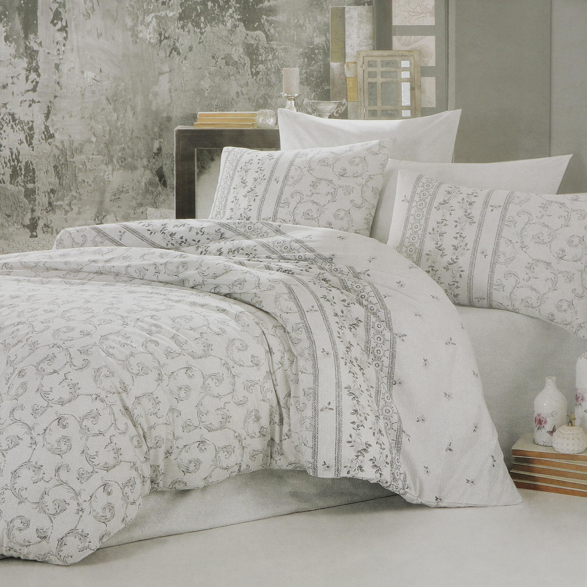 Постельный комплект Bahar ranforce 1.5 спальный ivy v1 grey фото