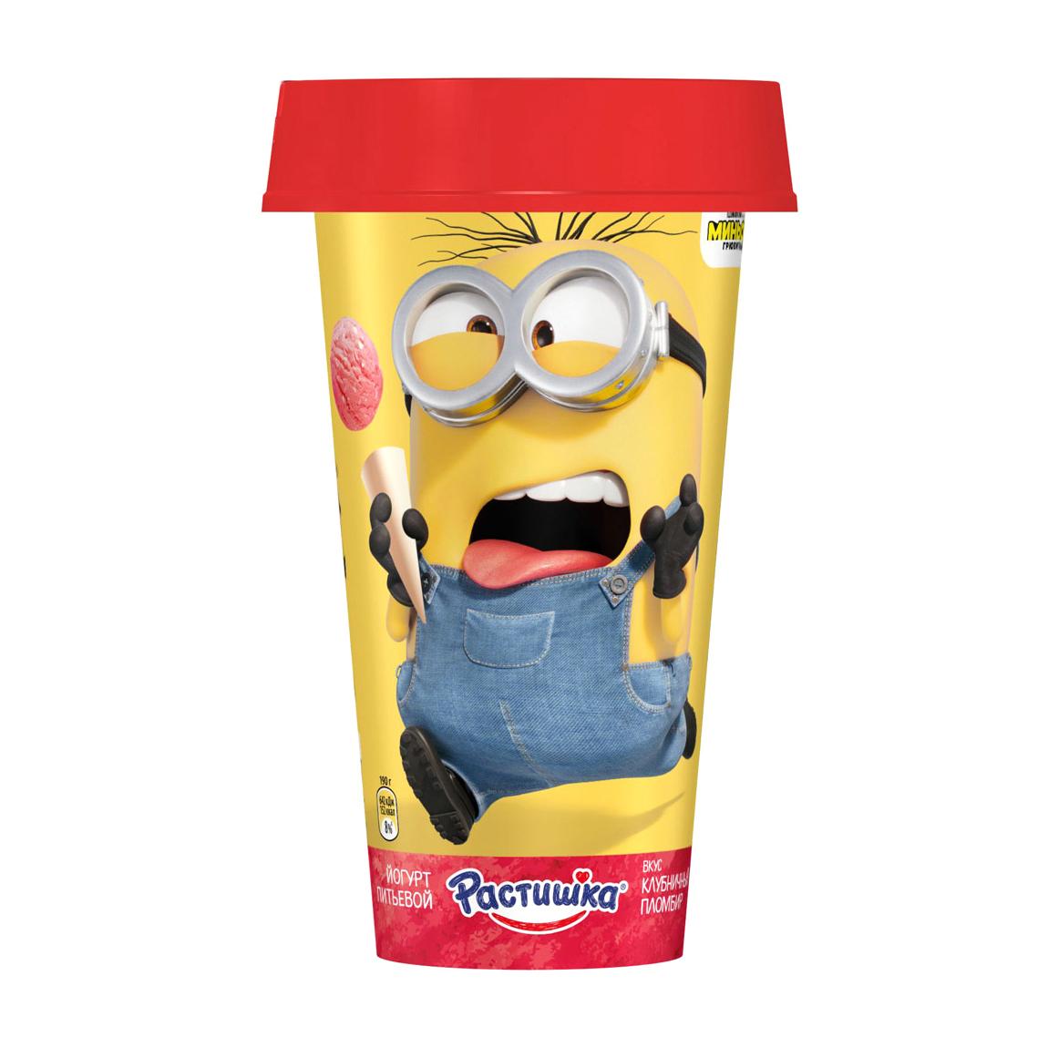 Йогурт питьевой Растишка Клубничный пломбир 2,8% 190 г