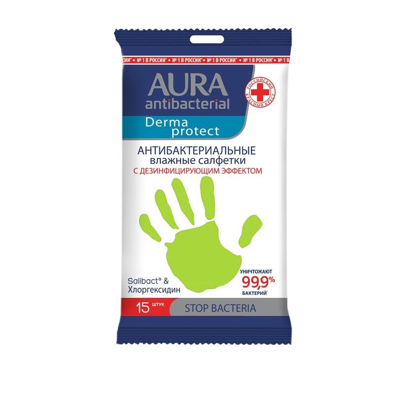 Фото - Влажные салфетки Aura антибактериальные 15 шт салфетки влажные aura антибактериальные 20 шт