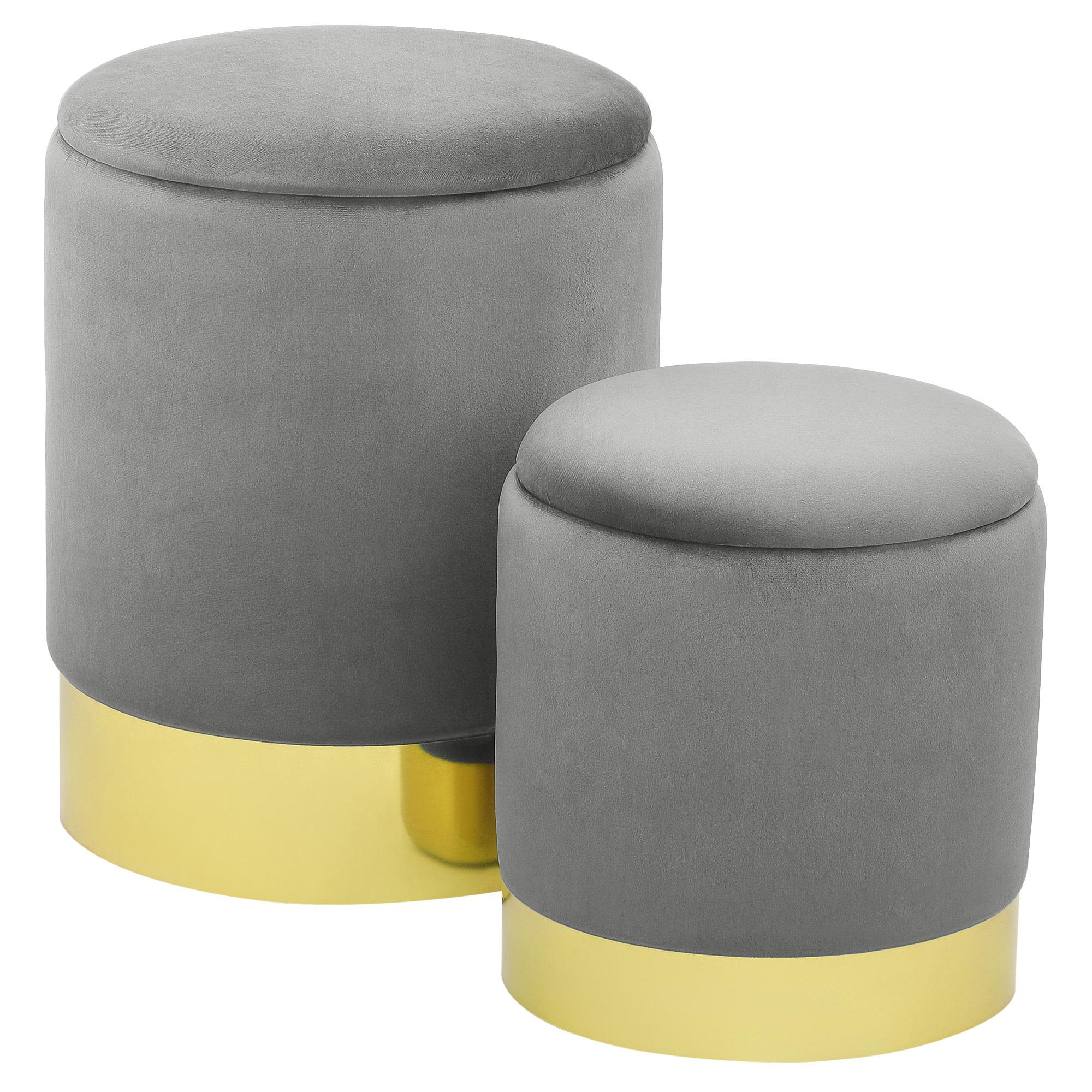 Набор из 2-х пуфиков Foreign trade серый 30x30x33 см/35,5x35,5x45 см