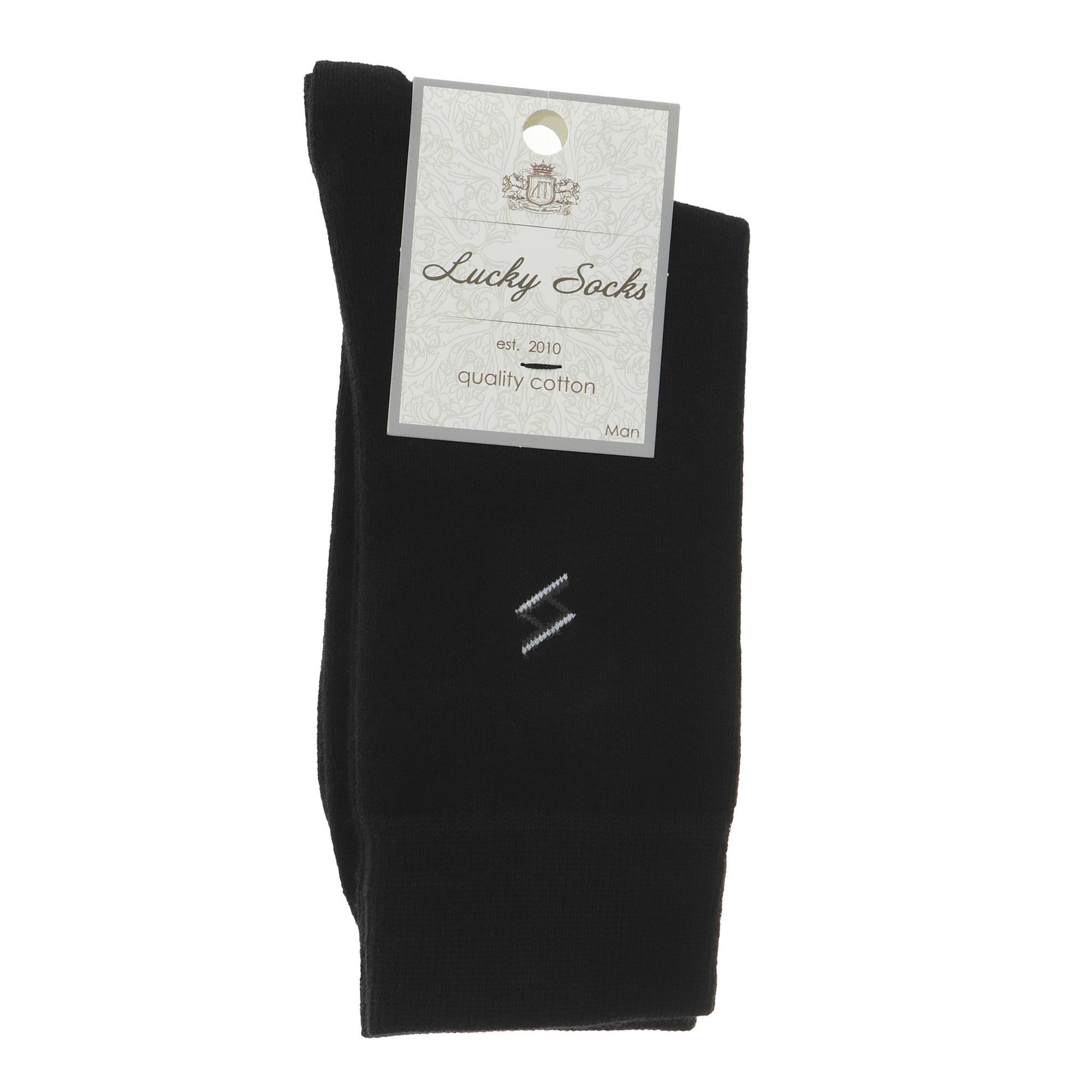 Носки мужские однотонные с рисунком Lucky Socks черные 1 пара 25-27