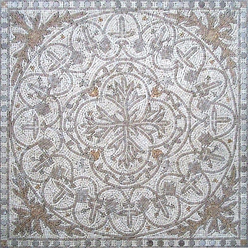 Панно Natural Мозаичные ковры и розоны Мрамор бежевый 122x122 см PH-22