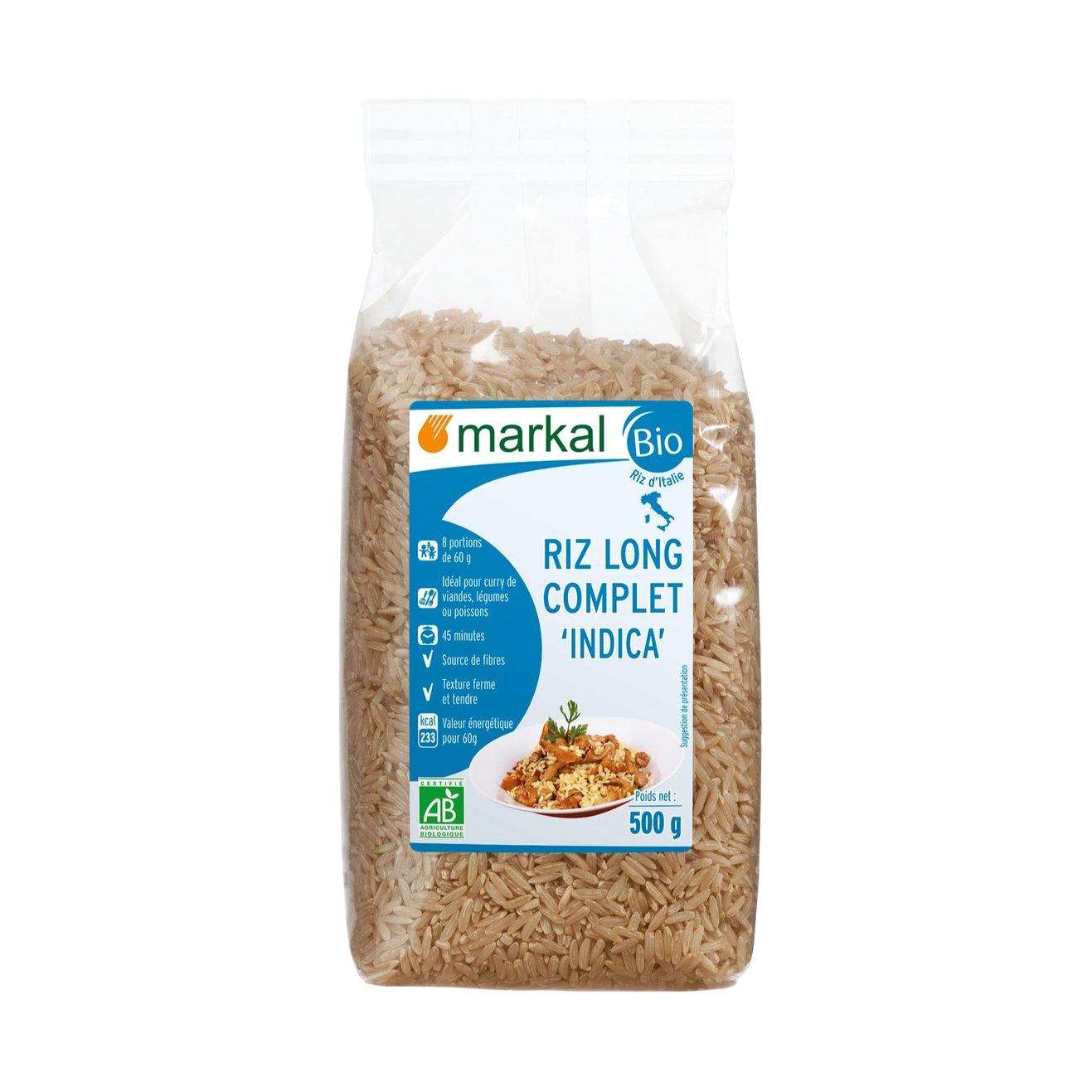 Рис длиннозёрный Markal Индика нешлифованный 500 г фото