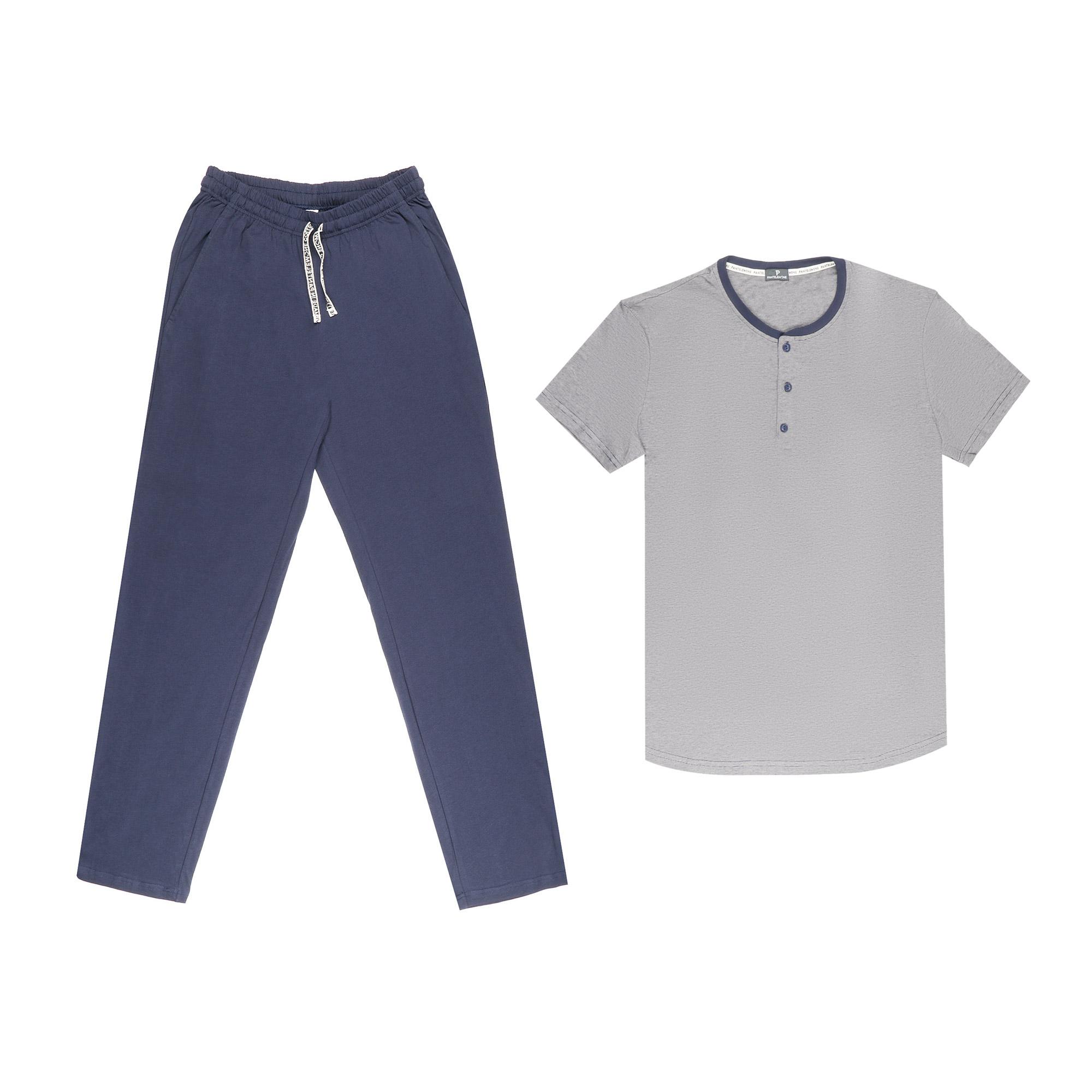 комплект домашний мужской vienetta s secret league капри футболка цвет сапфировый 711124 3286 размер 50 xl Домашний мужской комплект Pantelemone PDK-194 темно-синий 50